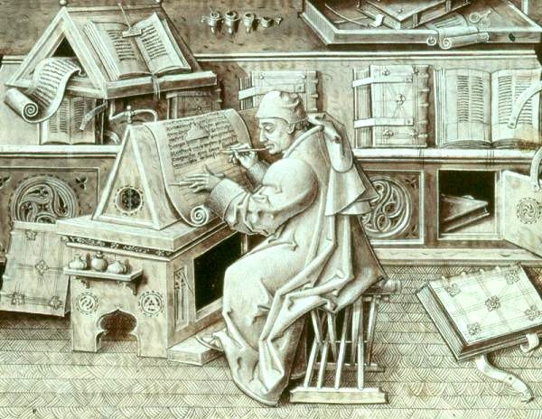 Illustration of 15th-century Burgundian scribe Jean Miélot writing at his desk. He is surrounded by a variety of manuscripts and writing implements.
