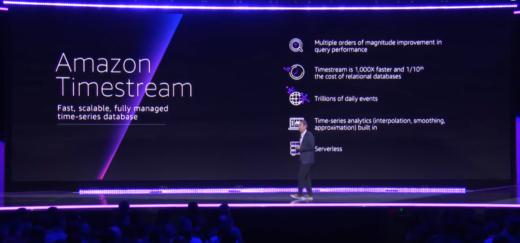 Amazon Timestream slide screenshot, ennumerating service descriptors including serverless.